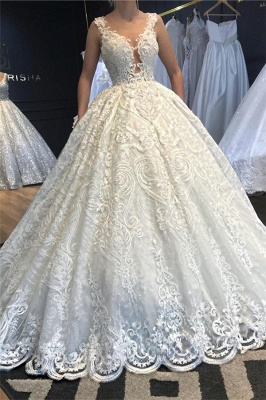 Princess Straps Jewel Lace Ball Gown Wedding Dresses |  Beaded Bridal Gown_1