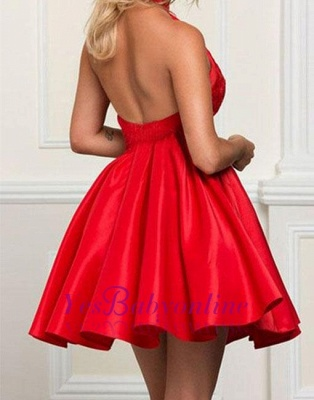 Cute A-line Short High-neck Red Beading Cocktail Dress_1