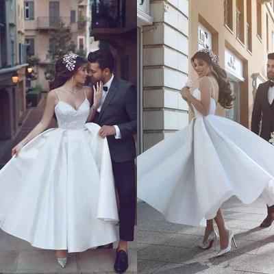 Sexy Spaghetti Strap Tea Length V-neck Wedding Dress_3
