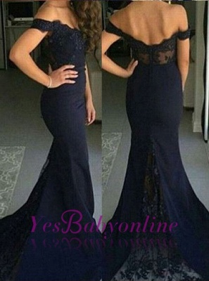 Mermaid Lace Backless Off-The-Shoulder Evening Appliques Dresses Sexy Prom Dresses_1