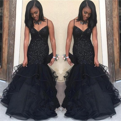 Black V-neck Spaghetti Prom Dresses   Sequins  Ruffles Evening Gowns_3