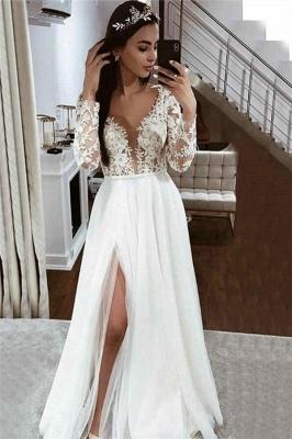 V Neck Long Sleeve Applique Lace Side Slit A Line Wedding Dresses_1