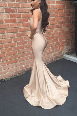 Long Mermaid Ruched V-Neck Sleeveless Sexy Prom Dresses_3