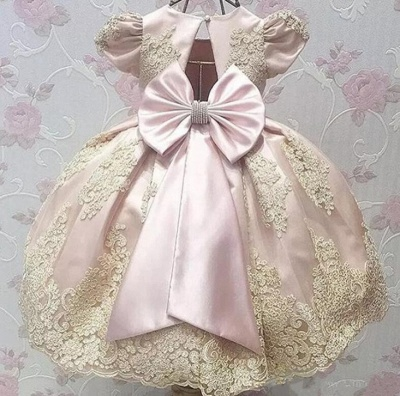 Lovely Sweet Appliques Flower Girl Dresses | Girl's First Communication Dresses With Bowknots_4