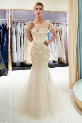 Mermaid Crew Neck Beaded Prom Dress With Tassels | Evening Dress 2019_3
