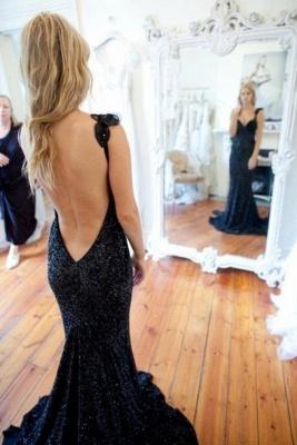 Sleeveless Black Modern Sequined Straps Sexy Mermaid Prom Dress_2