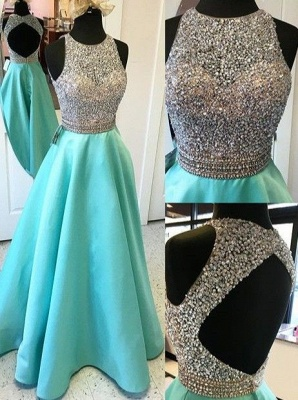 Elegant A-line Prom Dresses Beading Open Back Long Evening Gowns_2