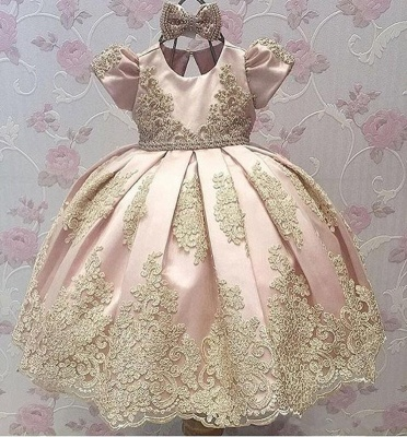 Lovely Sweet Appliques Flower Girl Dresses | Girl's First Communication Dresses With Bowknots_3