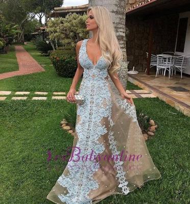 Lace V-neck Tulle Long Floor-Length Amazing Prom Dress_1