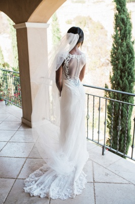 Straps Sweep-Train Sleeveless Newest  White Lace Appliques Sexy Mermaid Wedding Dress_5