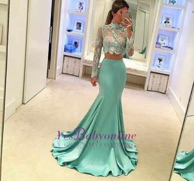 Mint Two-Piece Prom Dresses Sheer Lace Appliques High Neck Long Sleeves Sexy Mermaid Evening Gowns_1