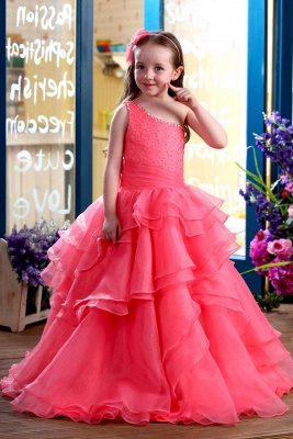A-Line Organza One-Shoulder Ruffles Floor-length Flower Girl Dress
