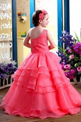 A-Line Organza One-Shoulder Ruffles Floor-length Flower Girl Dress_3