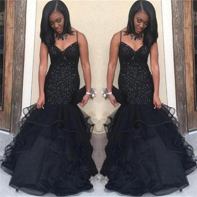 Black V-neck Spaghetti Prom Dresses | Sequins  Ruffles Evening Gowns_3