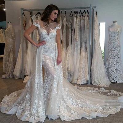 Graceful Jewel Cap Sleeve Apploque Sheath Detachable Skirt Wedding Dresses_3
