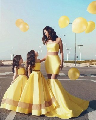 Yellow Mother& Daughter Dresses | Strapless Sheer Mermaid Formal Dresses_3