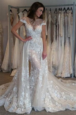 Graceful Jewel Cap Sleeve Apploque Sheath Detachable Skirt Wedding Dresses_1