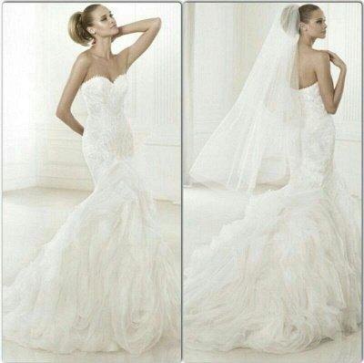 New Wedding Gowns Stunning Crystals Beadss Sweetheart Sleeves Sexy Mermaid Organza Sweep Train Bridal Dresses_3