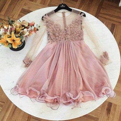 A-Line Long Sleeves Cocktail Dresses | Jewel Lace Appliques Short Party Dresses_3