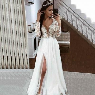 V Neck Long Sleeve Applique Lace Side Slit A Line Wedding Dresses_2