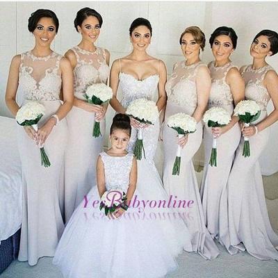 Sweep-train Scoop-neckline Lace Sleeves Sheath-Column Bridesmaid Dress_1