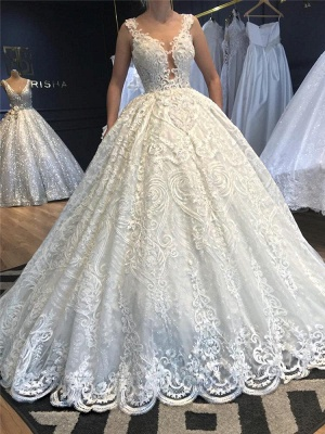 Princess Straps Jewel Lace Ball Gown Wedding Dresses |  Beaded Bridal Gown_2