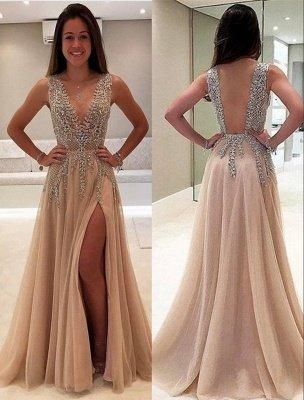 Glittering Champagne Prom Dresses | Crystals V-Neck Slit A-Line Evening Gowns_3