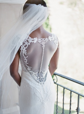 Straps Sweep-Train Sleeveless Newest  White Lace Appliques Sexy Mermaid Wedding Dress_4