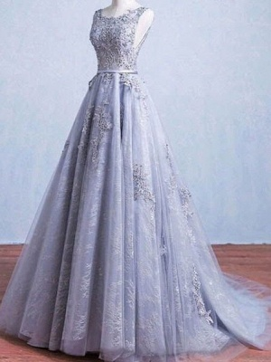 Lace-Applique A-Line Elegant Scoop Sleeveless Prom Dresses_2