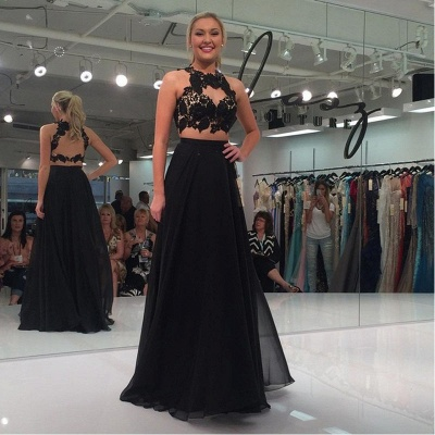 Sleeveless Two-Piece Sexy Black Lace-Appliques A-line Prom Dress_3