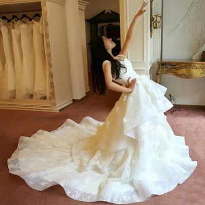 Princess Off-the-Shoulder Floor-Length Ruffles Glamorous Lace Wedding Dress_5