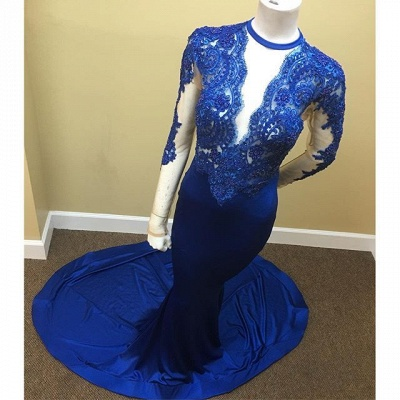 Appliques Long-Sleeve Scoop Lace Tulle Sheath Sheer Royal-Blue Prom Dress_3
