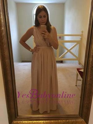 Elegant Sequins  Sleeveless V-Neck Long Maternity Prom Dress_1