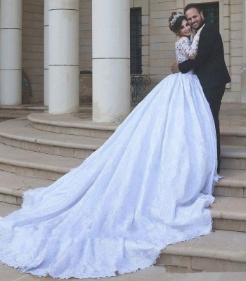 Arabic Ball-Gown White Long Sleevess Lace Tulle Wedding Dress_3