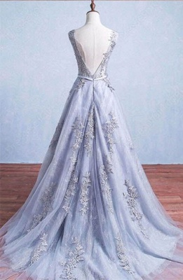 Lace-Applique A-Line Elegant Scoop Sleeveless Prom Dresses_4