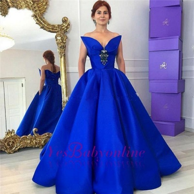 Floor-Length Royal-Blue Ball-Gown Elegant Crystal Prom Dress_1