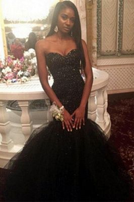 Sequins Amazing Sweetheart Black Beaded Mermaid Puffy Tulle Prom Dress_2