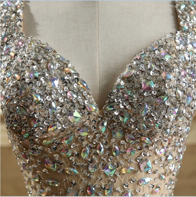 Luxury Crystals Mermaid Prom Dresses | Straps Open Back Evening Dress_5