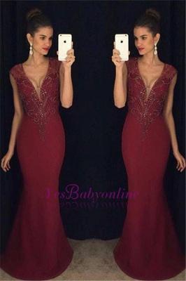 Beadings Mermaid Burgundy Sleeveless Gorgeous Prom Dress_1