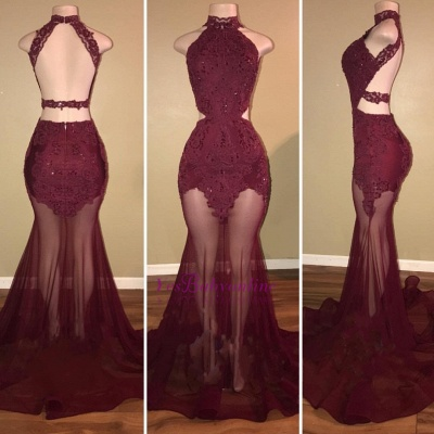 Burgundy Mermaid Sheer- High-Neck Lace-Appliques Prom Dresses_3