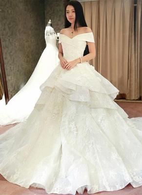 Princess Off-the-Shoulder Floor-Length Ruffles Glamorous Lace Wedding Dress_2