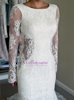 Glamorous Long Sleeves Backless Lace Sweep-Train Mermaid Wedding Dresses_1