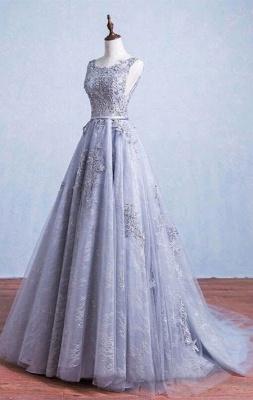 Lace-Applique A-Line Elegant Scoop Sleeveless Prom Dresses_3