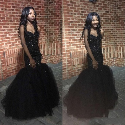 Sequins Amazing Sweetheart Black Beaded Mermaid Puffy Tulle Prom Dress_3