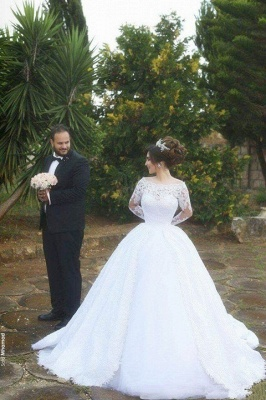 Arabic Ball-Gown White Long Sleevess Lace Tulle Wedding Dress_2