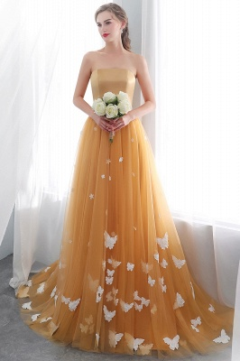 Fashion Sheath Gold Long Floor-Length Sash Evening Dresses_1