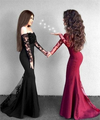 Red Lace Prom Dress 2019   Long Mermaid Party Gowns_3