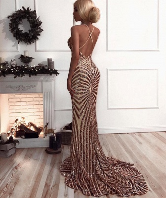 Sexy Sequins Mermaid Prom Dresses | V-Neck Crisscross Back Evening Gowns_4
