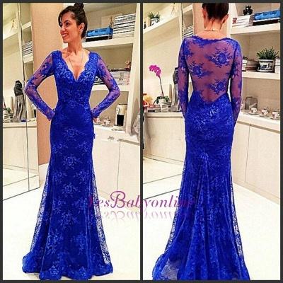 Lace Rpyal-Blue Elegant Long-Sleeve Evening Dress_1