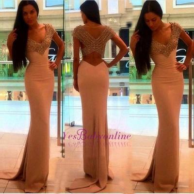 Sexy Crystal Sheath V-Neck Short-Sleeves Prom Dress_1